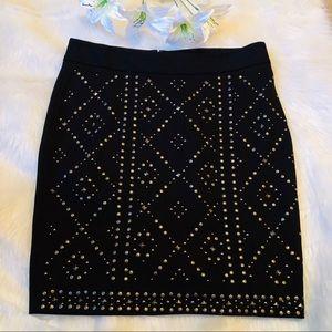 Cache Embellished Studded Skirt